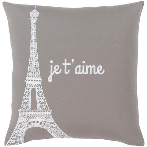"""Ariella Medium Grey """"Je t'aime"""" Throw Pillow Cover (20"""" x 20"""")"""