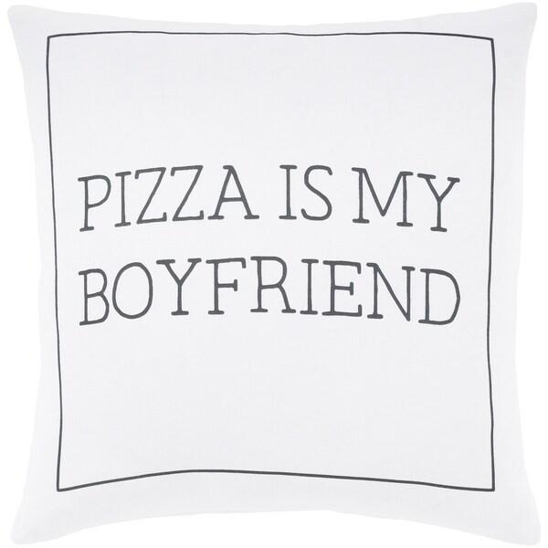 """Pielife White """"Pizza"""" Feather Down Throw Pillow (22"""" x 22"""")"""