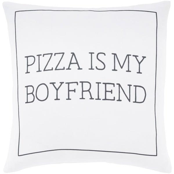 """Pielife White """"Pizza"""" Feather Down Throw Pillow (20"""" x 20"""")"""