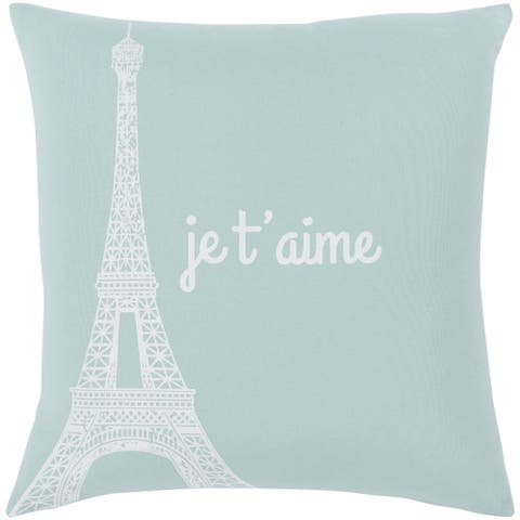 "Ariella Cyan ""Je t'aime"" Poly Fill Throw Pillow (22"" x 22"")"