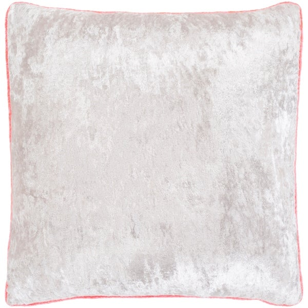 """Selena Pink & Ivory Crushed Velvet Poly Fill Throw Pillow (18"""" x 18"""")"""