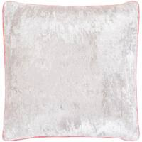 """Selena Pink & Ivory Crushed Velvet Feather Down Throw Pillow (22"""" x 22"""")"""