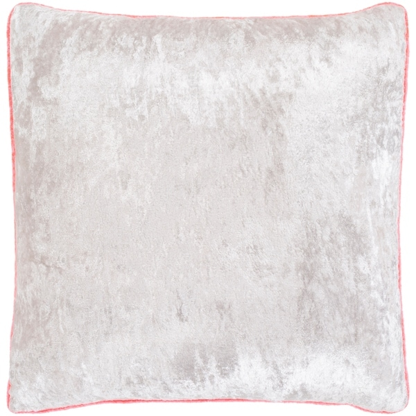 "Selena Pink & Ivory Crushed Velvet Feather Down Throw Pillow (22"" x 22"")"