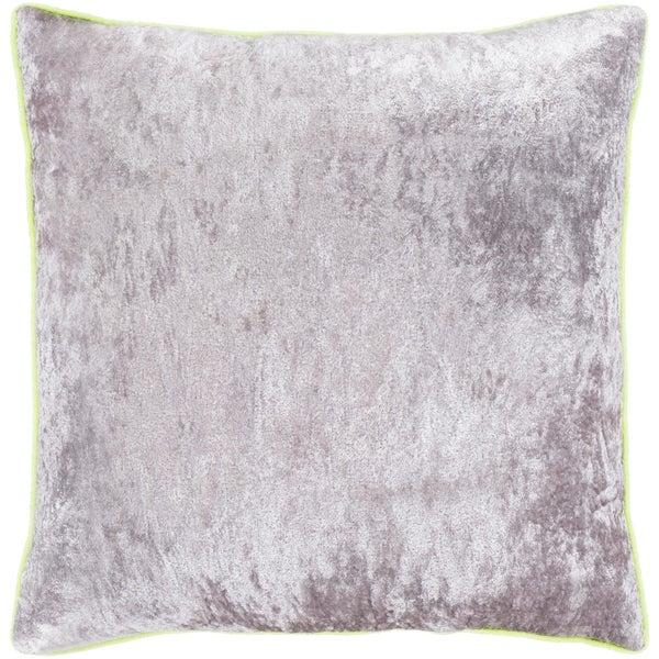 "Selena Yellow & Grey Crushed Velvet Feather Down Throw Pillow (18"" x 18"")"