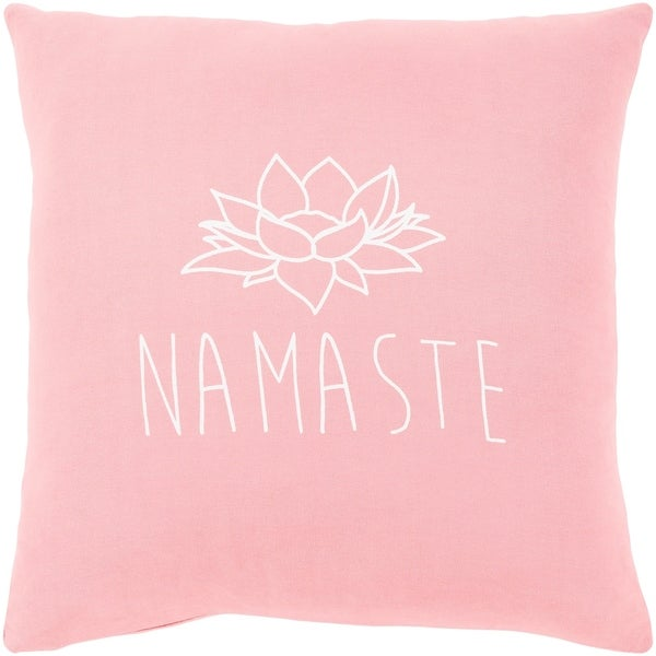 "Blessed Pink ""Namaste"" Throw Pillow Cover (18"" x 18"")"