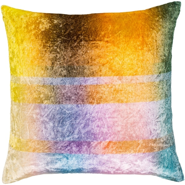 "Morpheus Yellow & Aqua Crushed Velvet Throw Pillow Cover (22"" x 22"")"