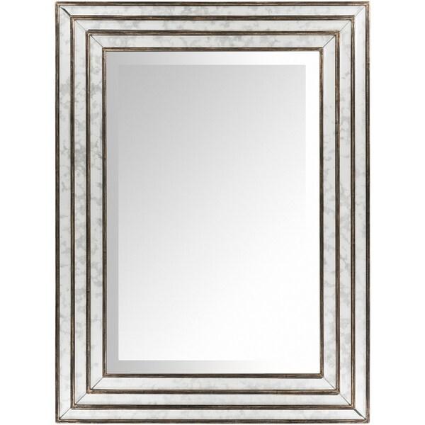 "Trinity Triple Framed Antiqued Wall Mirror - Antique Silver - 34.3"" x 46"""