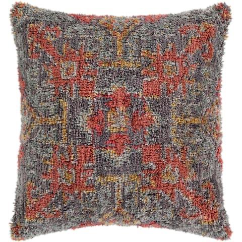 "Dakoto Medium Grey & Orange Bohemian Shag Throw Pillow Cover (18"" x 18"")"