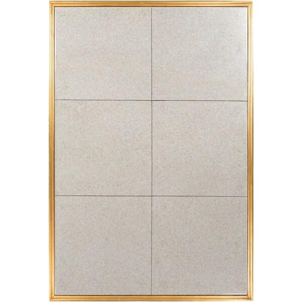 "Edina Antiqued Tile Beveled Wall Mirror - Antique Gold - 40"" x 60"""
