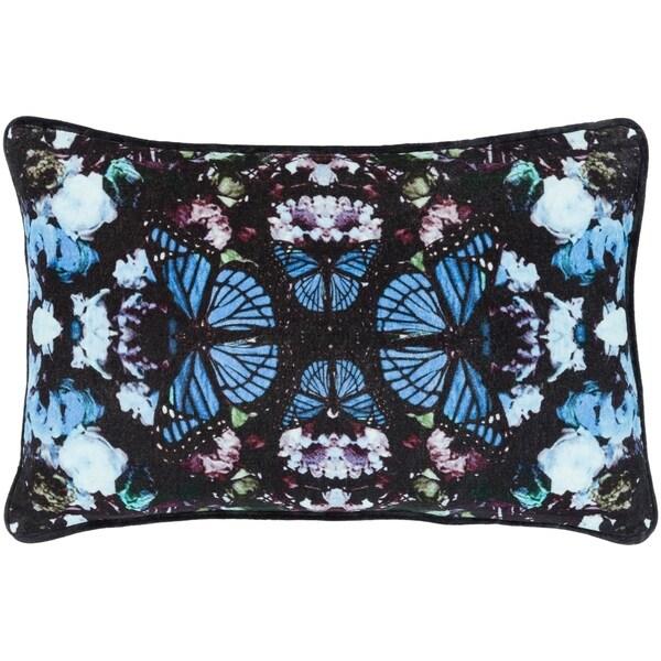 """Gracelyn Blue Velvet Boho Kaleidoscope Poly Fill Throw Pillow (13"""" x 19"""")"""