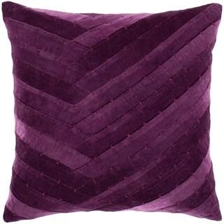 "Evangeline Purple Stitched Velvet Feather Down Throw Pillow (22"" x 22"")"