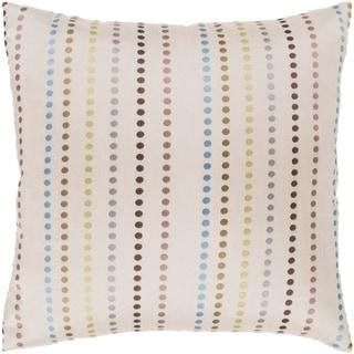 "Kyrie Ivory/ Multi Polka Dot Stripe Jacquard Throw Pillow Cover (22"" x 22"")"