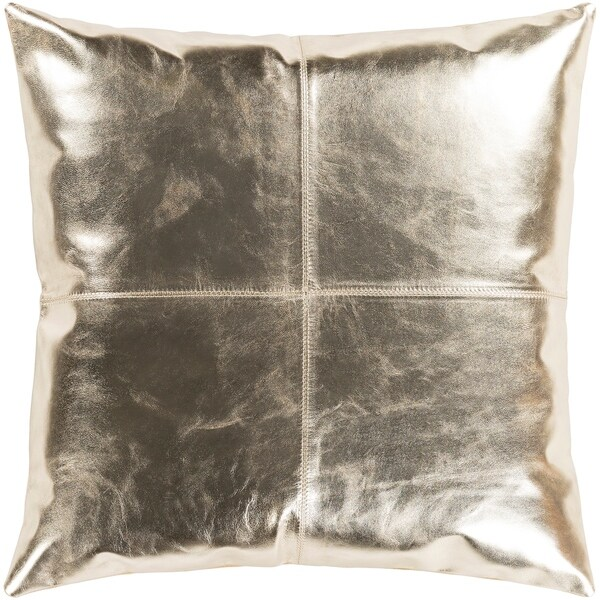 """Signature Champagne Leather Throw Pillow Cover (20"""" x 20"""")"""
