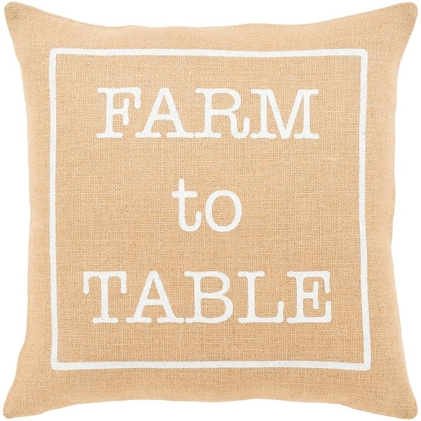 "Santiago Wheat Modern Farmhouse Feather Down Throw Pillow (22"" x 22"")"