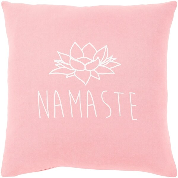 "Blessed Pink ""Namaste"" Feather Down Throw Pillow (22"" x 22"")"