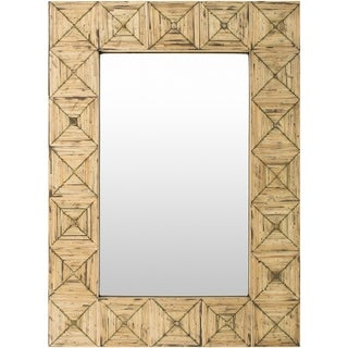 "Celine Inlaid Bamboo Beveled Wall Mirror - Brown/Ivory - 26"" x 35.8"""