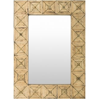 Celine Inlaid Bamboo Beveled Wall Mirror - Brown/Ivory