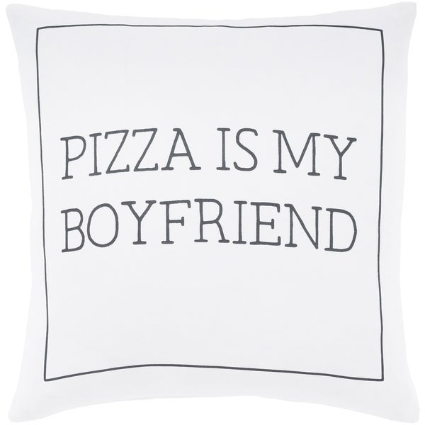 "Pielife White ""Pizza"" Poly Fill Throw Pillow (20"" x 20"")"