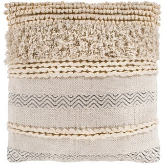 "Jules Ivory Bohemian Braided Poly Fill Throw Pillow (18"" x 18"")"