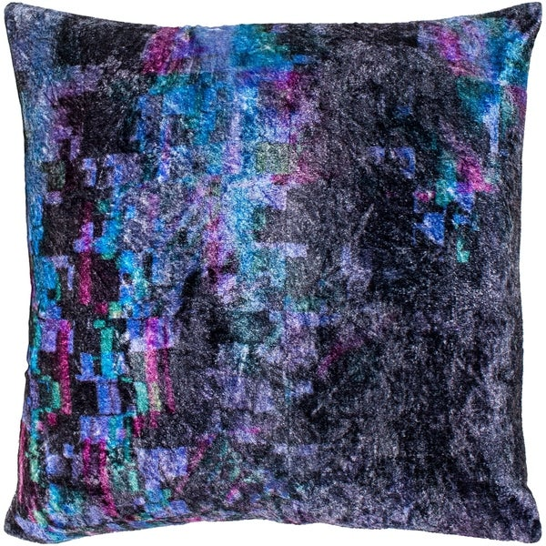 "Cyber Black & Emerald Crushed Velvet Feather Down Throw Pillow (22"" x 22"")"