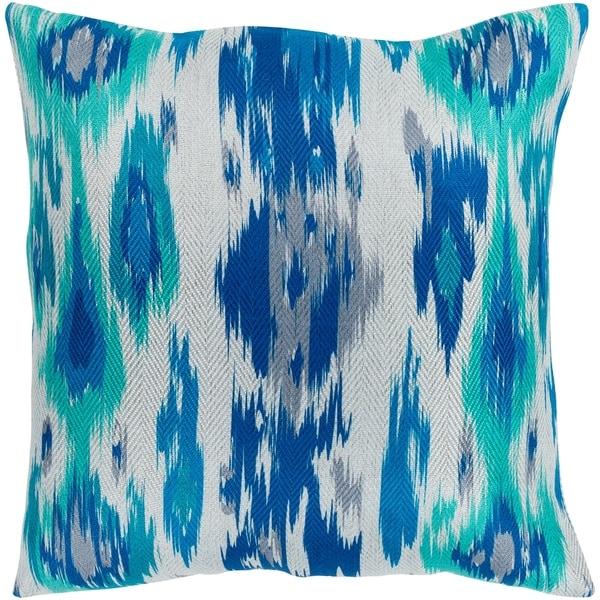 "Makayla Navy & Emerald Bohemian Ikat Poly Fill Throw Pillow (18"" x 18"")"