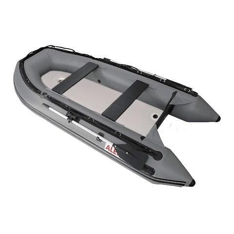 ALEKO Inflatable Fishing Raft Grey Boat 10.5 Ft with Air Deck Floor