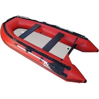 ALEKO Inflatable Fishing Raft Red Boat 10.5 Ft with Air Deck Floor