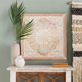 Gabriela Hand Carved Wood Floral Wall Art - Brown