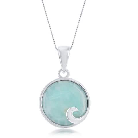 La Preciosa Sterling Silver Round Larimar Wave Design 18'' Pendant Necklace