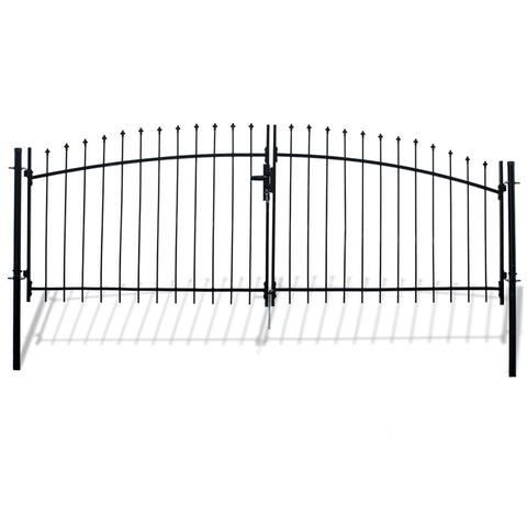 ALEKO ATHENS Style DIY Steel Dual Swing Driveway 11 x 5 ft Gate with Lock