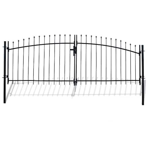 ALEKO ATHENS Style DIY Steel Dual Swing Driveway 15 x 5 ft Gate with Lock