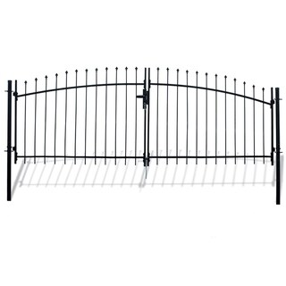 ALEKO ATHENS Style DIY Steel Dual Swing Driveway 15 x 5 ft Gate with Lock