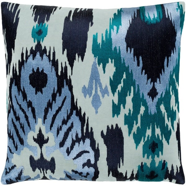 "Dobra Blue Embroidered Ikat Poly Fill Throw Pillow (18"" x 18"")"