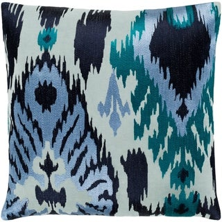 "Dobra Blue Embroidered Ikat Feather Down Throw Pillow (22"" x 22"")"