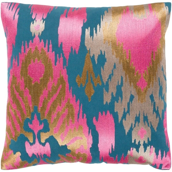 """Dobra Teal & Pink Embroidered Ikat Poly Fill Throw Pillow (18"""" x 18"""")"""