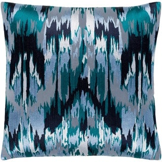 "Virgil Grey & Blue Embroidered Ikat Feather Down Throw Pillow (22"" x 22"")"