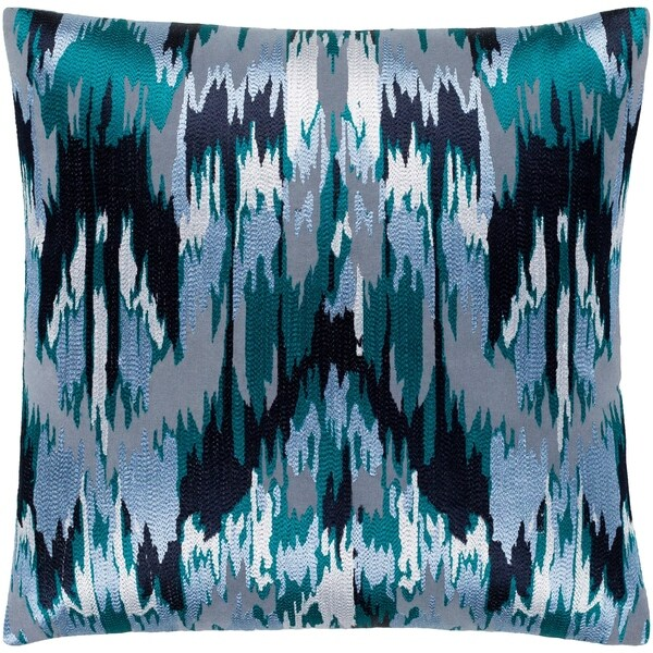 """Virgil Grey & Blue Embroidered Ikat Feather Down Throw Pillow (22"""" x 22"""")"""