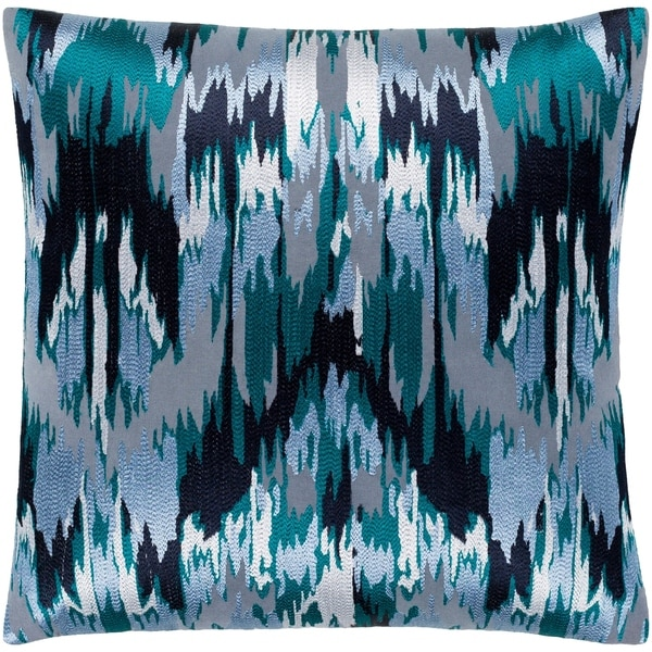 "Virgil Grey & Blue Embroidered Ikat Throw Pillow Cover (22"" x 22"")"