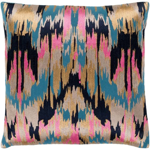"""Virgil Hot Pink & Navy Embroidered Ikat Throw Pillow Cover (18"""" x 18"""")"""