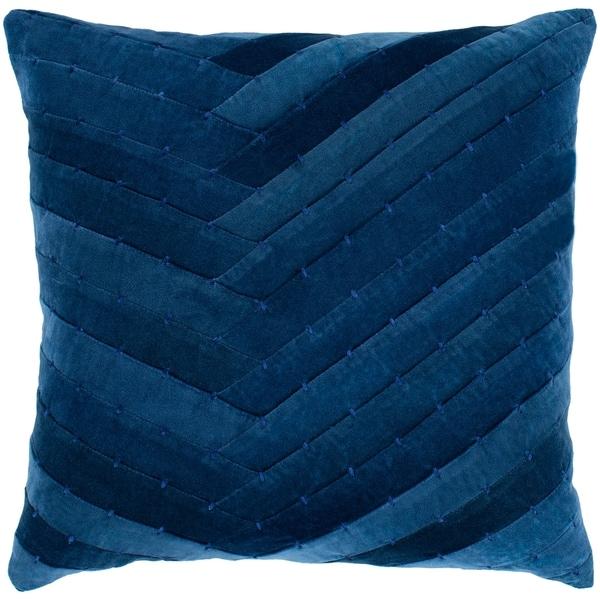 "Evangeline Navy Stitched Velvet Feather Down Throw Pillow (22"" x 22"")"
