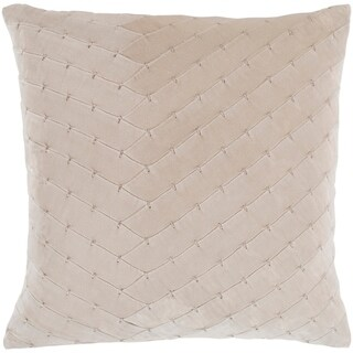 """Evangeline Khaki Stitched Velvet Feather Down Throw Pillow (18"""" x 18"""")"""