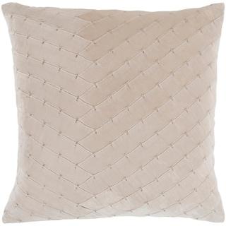 "Evangeline Khaki Stitched Velvet Throw Pillow Cover (20"" x 20"")"