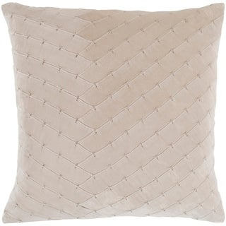 "Evangeline Khaki Stitched Velvet Feather Down Throw Pillow (22"" x 22"")"