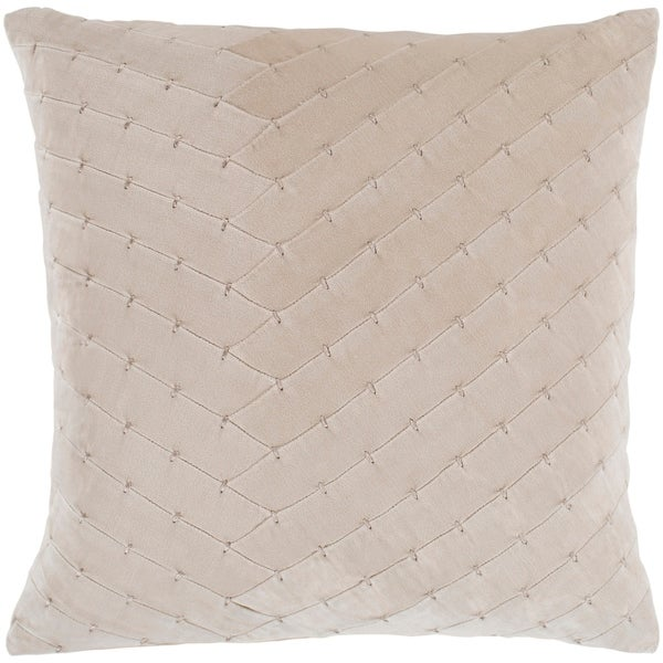 """Evangeline Khaki Stitched Velvet Feather Down Throw Pillow (22"""" x 22"""")"""