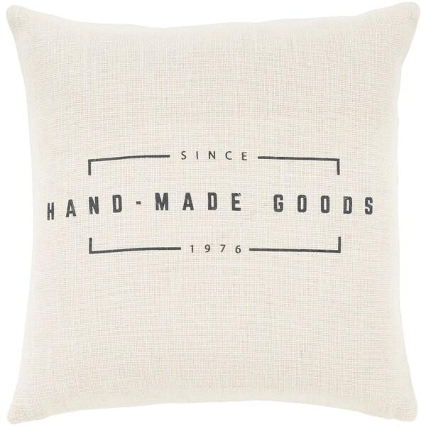 "Karson Cream Modern Farmhouse Poly Fill Throw Pillow (18"" x 18"")"