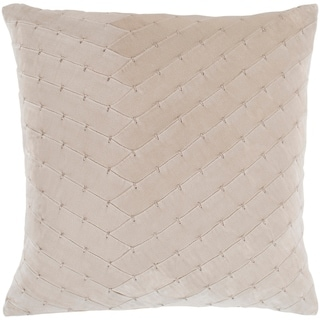 "Evangeline Khaki Stitched Velvet Feather Down Throw Pillow (20"" x 20"")"