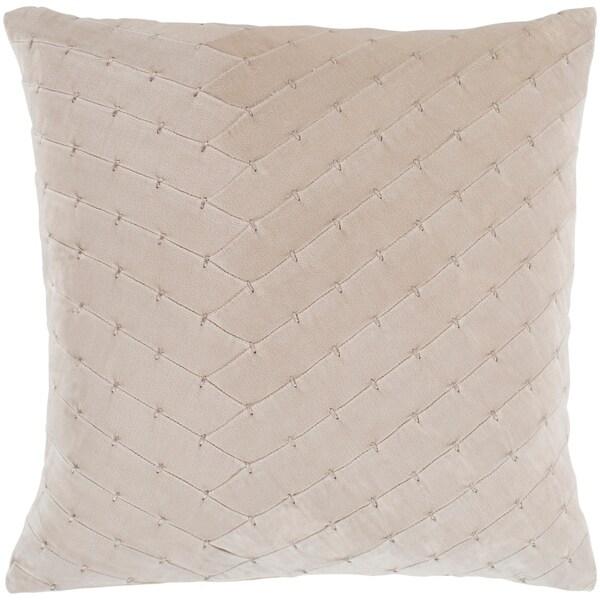 """Evangeline Khaki Stitched Velvet Feather Down Throw Pillow (20"""" x 20"""")"""