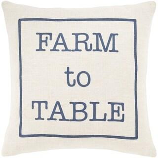 """Santiago Cream & Navy Modern Farmhouse Poly Fill Throw Pillow (20"""" x 20"""")"""
