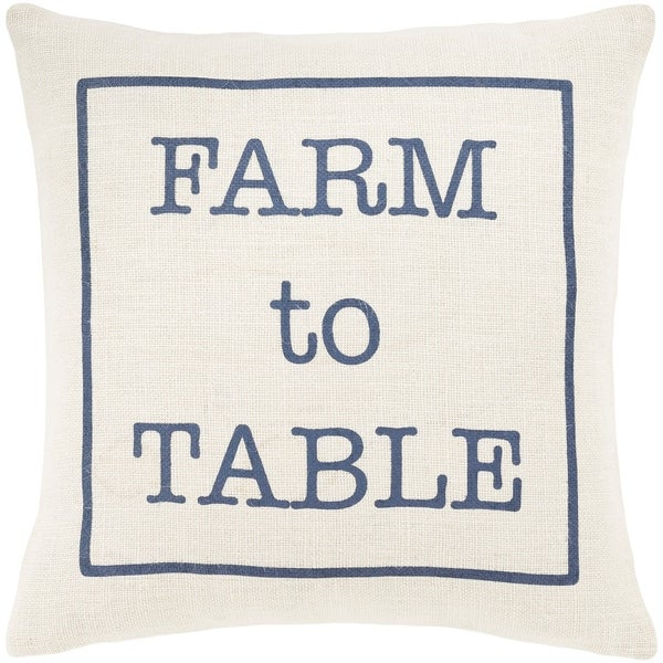 "Santiago Cream & Navy Modern Farmhouse Throw Pillow Cover (18"" x 18"")"