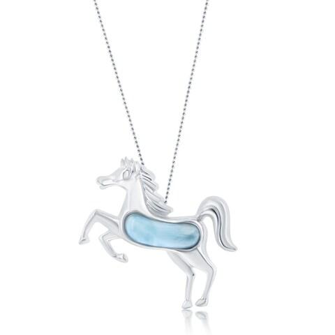 La Preciosa Sterling Silver Natural Larimar Horse 18'' Pendant Necklace
